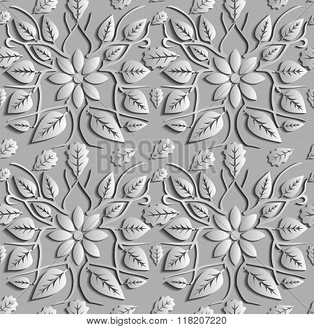 Seamless Abstract Illustration Of Nature. Figure 3D, Leaves, Flowers, Branches. Color Silver. Vector