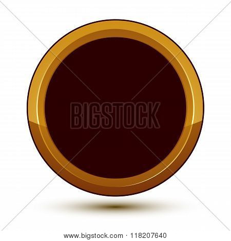 Vector Classic Emblem Isolated On White Background. Aristocratic Golden Ring, Clear Eps 8.