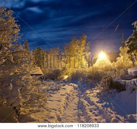 winter night in Leningrad region