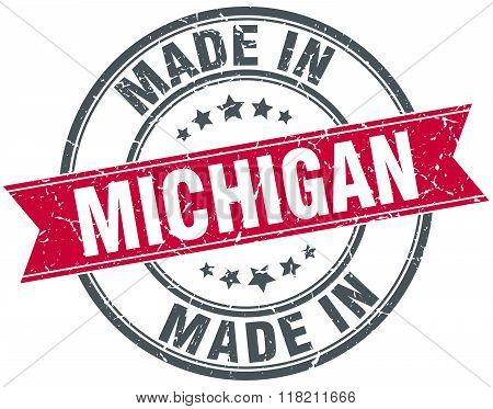 made in Michigan red round vintage stamp