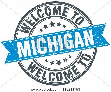 welcome to Michigan blue round vintage stamp