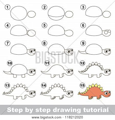 Stegosaurus. Drawing tutorial.