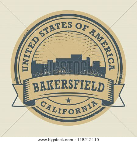 Stamp With Name Of Bakersfield, California