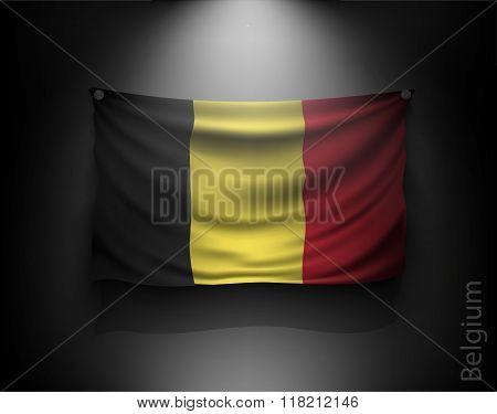 Waving Flag Belgium On A Dark Wall
