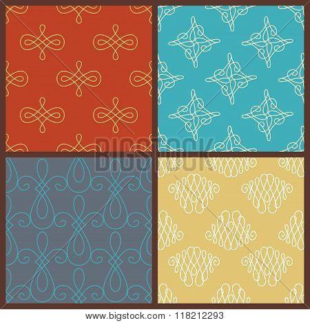 Set Of Seamless Calligraphic Patterns.