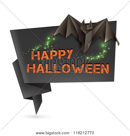Halloween Speech Bubble With Origami Bat And Omnious Lights. Vector Illustration, Eps10.