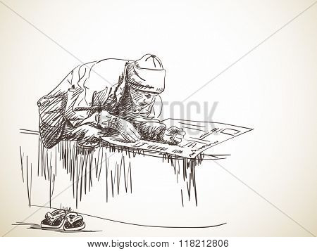 Sketch of man seating in lotus posture reading newspaper, Hand drawn illustration