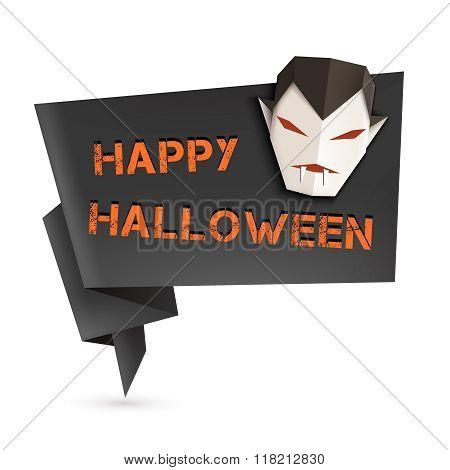 Halloween Speech Bubble With Origami Vampire. Vector Illustration, Eps10.