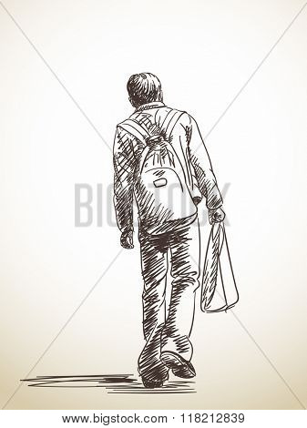 Sketch of walking man from back Hand drawn Vector illustration