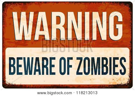 Halloween Warning Sign. Beware Of Zombies. Vector Illustration, Eps10.