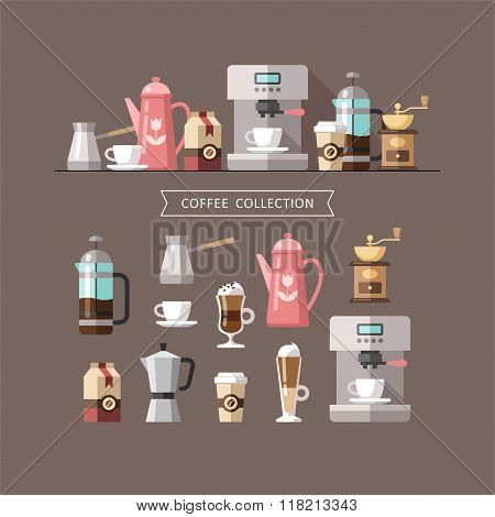 Coffee Set of Elements Coffee Shop Coffee House Coffee Time Cafe