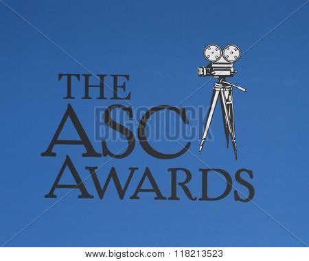 LOS ANGELES - FEB 14:  American Society of Cinematographers Awards Emblem at the 2016 American Society of Cinematographers Awards at the Century Plaza Hotel on February 14, 2016 in Century City, CA
