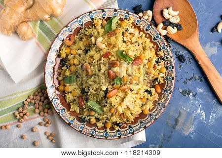 Traditional Dish Of Rice (pilaf) Cooked With Spices