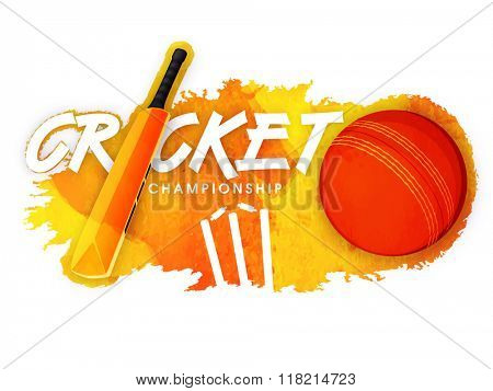 Shiny bat with ball and wicket stumps on stylish abstract background for Cricket Championship concept.