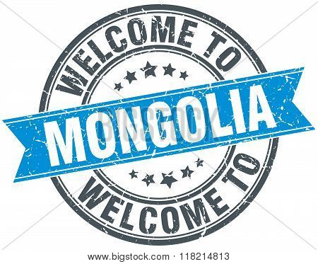 welcome to Mongolia blue round vintage stamp