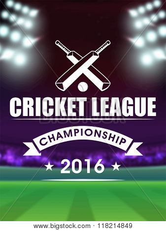 Creative Template, Banner or Flyer design with view of night stadium lights background for Cricket League concept.