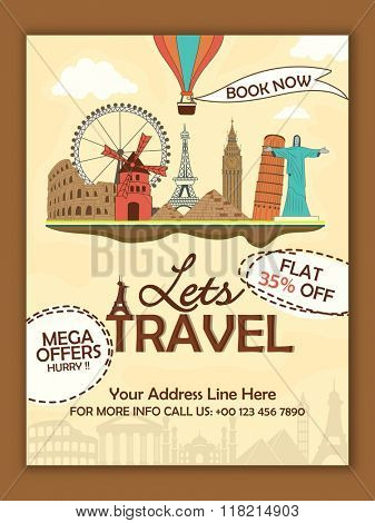 Creative Flyer, Banner or Template design with illustration of famous monuments for Tour and Travel concept.