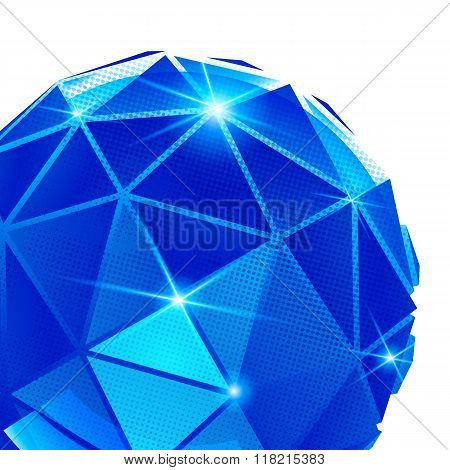 Plastic grain fond with blue dimensional geometric object sparkling synthetic dotted background.