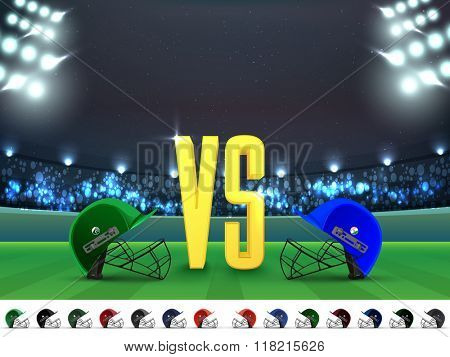 Cricket Match Schedule between India VS Pakistan with other participant countries helmets on night stadium lights background.
