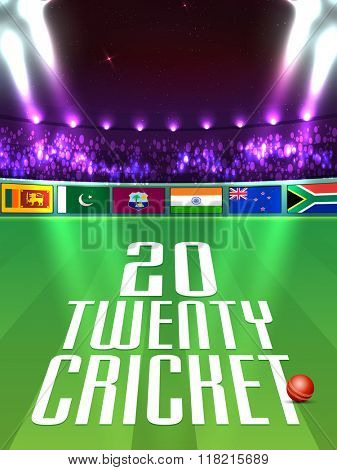 Different participant countries flags on night stadium lights background for Cricket Sports concept.