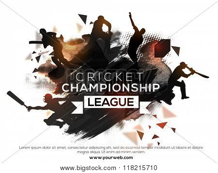 Silhouette of players in different playing actions on abstract paint stroke background for Cricket Championship League concept.