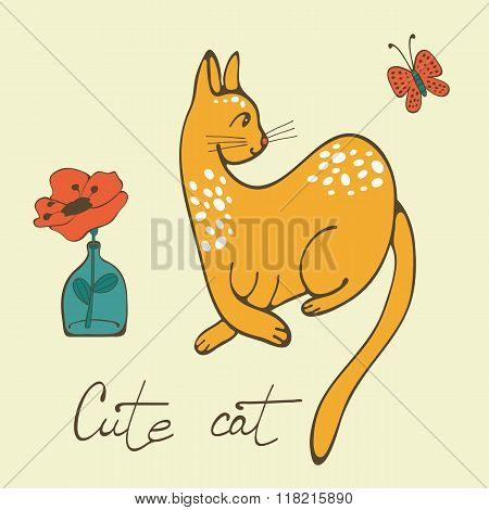 Hand drawn card with elegant cat