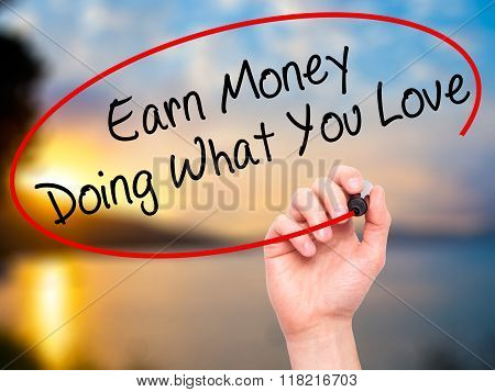 Man Hand Writing Earn Money Doing What You Love With Black Marker On Visual Screen