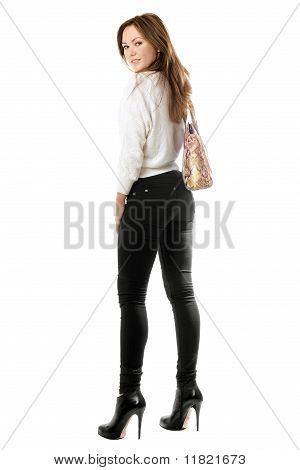 Smiling Girl In Black Tight Jeans