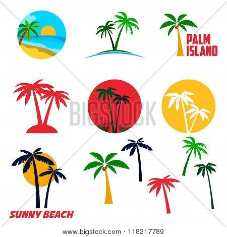 Set Of Palm Island Labels And Emblems