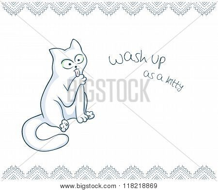 Vector Printable Illustration Of Nice Gift Postcard With  Hand Drawn Cute Cat And Inspiration Funny