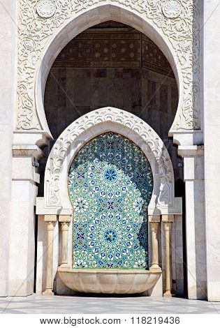 Close up of Arabic Architecture. King Hassan II Mosque, Casablanca, Morocco