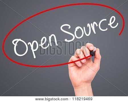 Man Hand Writing Open Source With Black Marker On Visual Screen