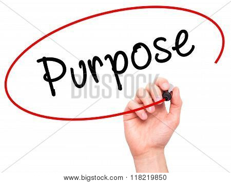 Man Hand Writing Purpose With Black Marker On Visual Screen