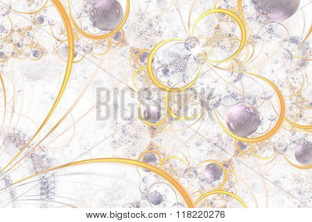 Abstract Fractal Background With Rings And Orbs