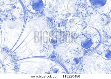 Blue Fractal Background With Rings And Orbs