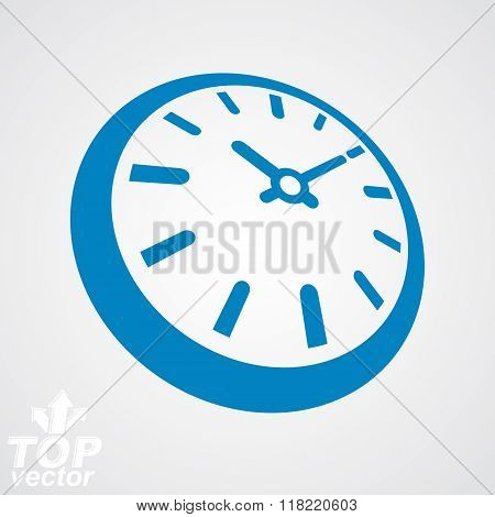 3D Vector Round Stylized Wall Clock. Time Idea Classic Perspective Symbol. Time Management Conceptua