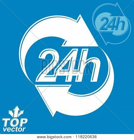 3D Vector 24 Hours Graphic Symbol With Invert Version. Twenty-four Hours A Day Conceptual Element. T