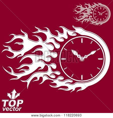 Vector Elegant Timer With Burning Flame, Invert Version Included. Time Is Running Out Concept, Eps 8