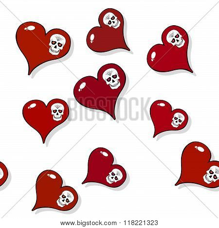 Seamless Pattern With Red Hearts And Skulls On White