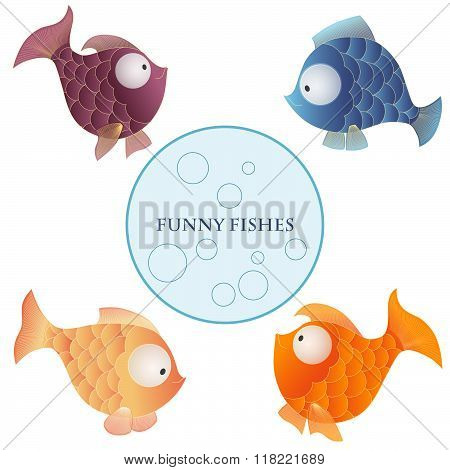 Vector Cartoon Characters Funny Fishes Isolated On White Background