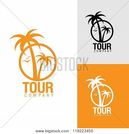 Palm Trees Silhouette Emblems.