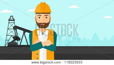 Confident oil worker.