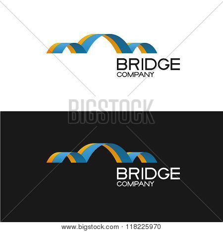 Bridge Building Company Logo Template. 3D Color Ribbon Style Sign.