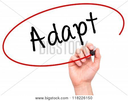 Man Hand Writing Adapt With Black Marker On Visual Screen