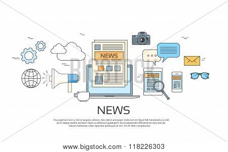 News Icons, Newspaper, Tablet Smart Phone Paper Web Banner Set