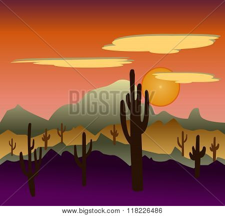 Desert Wild Nature Landscapes With Cactus