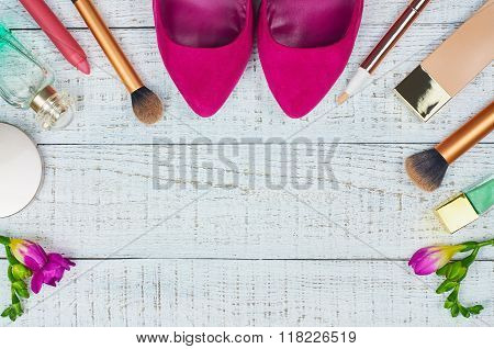 Still life of fashion woman. Modern female accessories