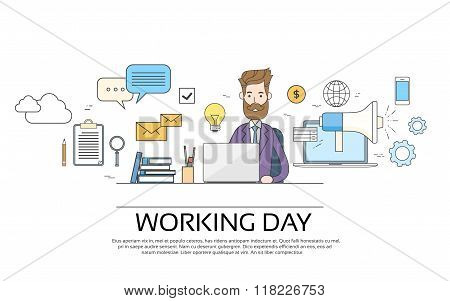 Business Man Working Day Concept Using Laptop Sitting Desk
