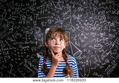 Girl  thinking, finger on cheek, blackboard with mathematical sy