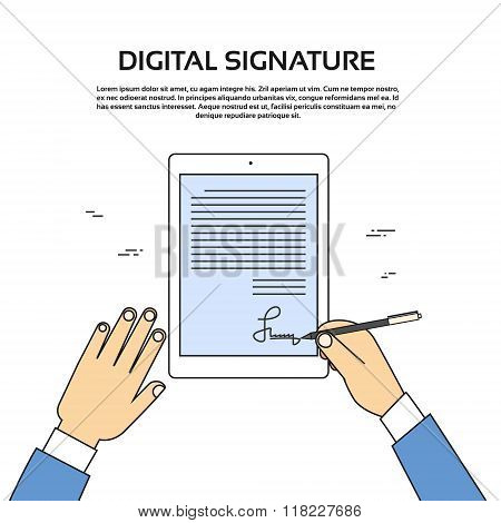 Digital Signature Tablet Computer Businessman Hands Sign Up